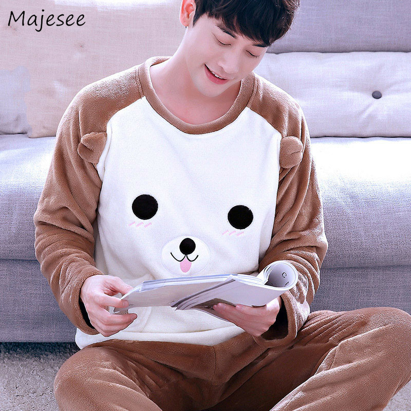 Pajama Set Men O-neck Autumn Winter Thicker Flannels Home Clothes Mens Plus Size Fashions Simple Long Sleeve Warm Males Soft