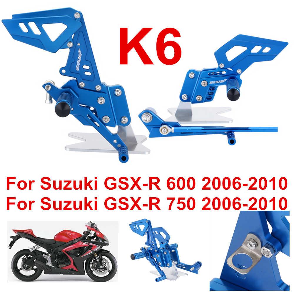 K6 estilo azul da motocicleta apoio para os pés traseiro pedal pegs conjunto para suzuki GSX-R 600 750 GSX-R gsxr d40