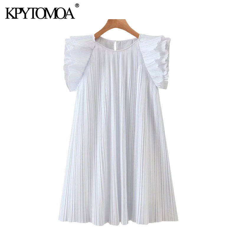 KPYTOMOA Women 2020 Sweet Fashion Ruffled Pleated Mini Dress Vintage O Neck Sleeveless With Lining Female Dresses Vestidos Mujer