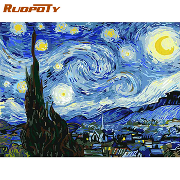 RUOPOTY Frame DIY Painting By Numbers Van Gogh Starry Sky Picture By Numbers Landscape Wall Art Acrylic Paint For Home Decor Art 50mm van gogh art paintings refrigerator stickers starry night sunflowers fridge magnet landscape glass crystal cabochon decor