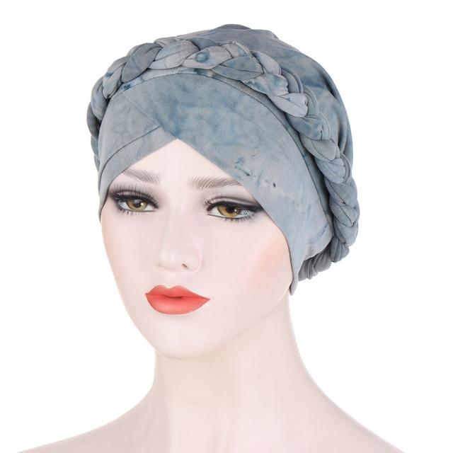 Мусульманские женщины крест шелковистая коса тюрбан шляпа Головной