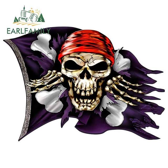 Earlfamily 43cm X 36cm Jolly Roger Pirate Skull Crossbones Flag Decal Flag Car Stickers Class Auto Car Accessories Car Stickers Aliexpress
