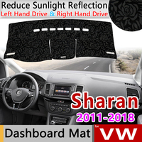for Volkswagen Sharan 7N SEAT Alhambra 2011~2018 MK2 VW Anti Slip Mat Rose Pattern Dashmat Dashboard Cover Pad Cape Accessories