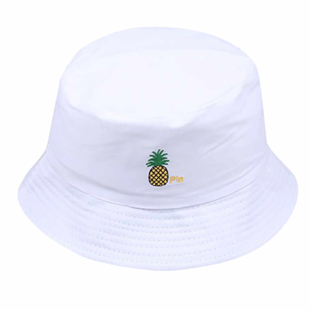 Men Women Pineapple Bucket Hat Hip Hop Fisherman Panama Hats Embroidery Cotton Outdoor Summer Casual Swag Bob Visor Bucket Cap