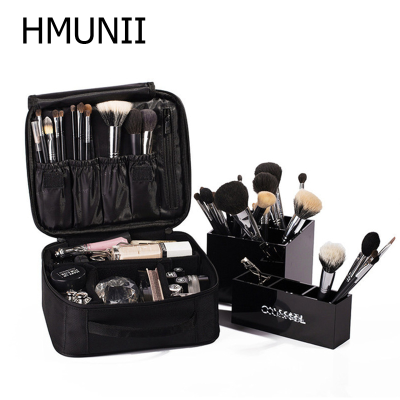 HMUNII Brand Women Cosmetic Bag High Quality Travel Cosmetic Organizer Zipper Portable Makeup Bag Designers Trunk Cosmetic Bags