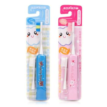 Children Electric Toothbrush Cartoon Lovely Pattern for Kids with 2pcs Replacement Head