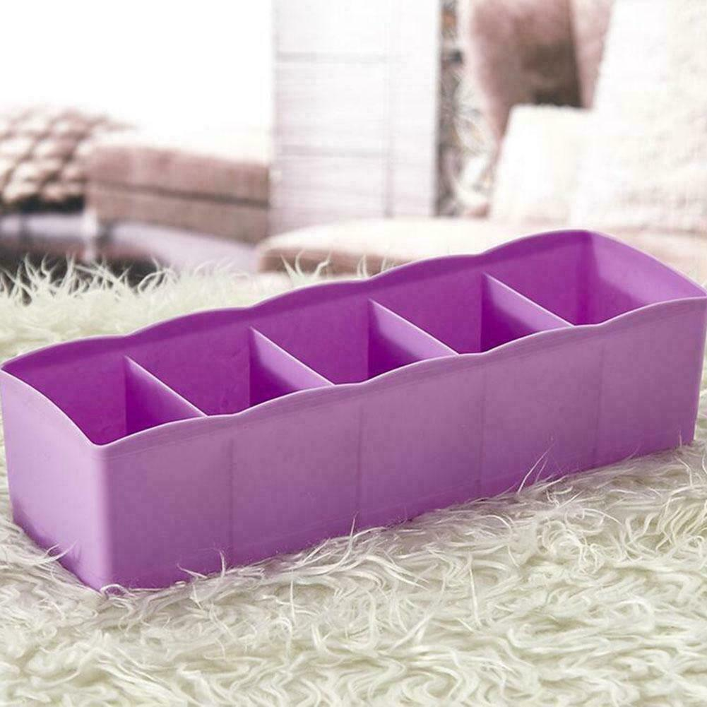 5 Grids Classified Storage Box Tie Bra Socks Divider Drawer Packing Organizer Household Hard Plastic Storage Wholesale 6 Colors