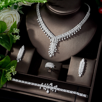 HIBRIDE New Arrival Nigerian Jewelry Set for Women White Color Cubic Zirconia Weeding Jewelry Set bijoux mariage parure N 1101