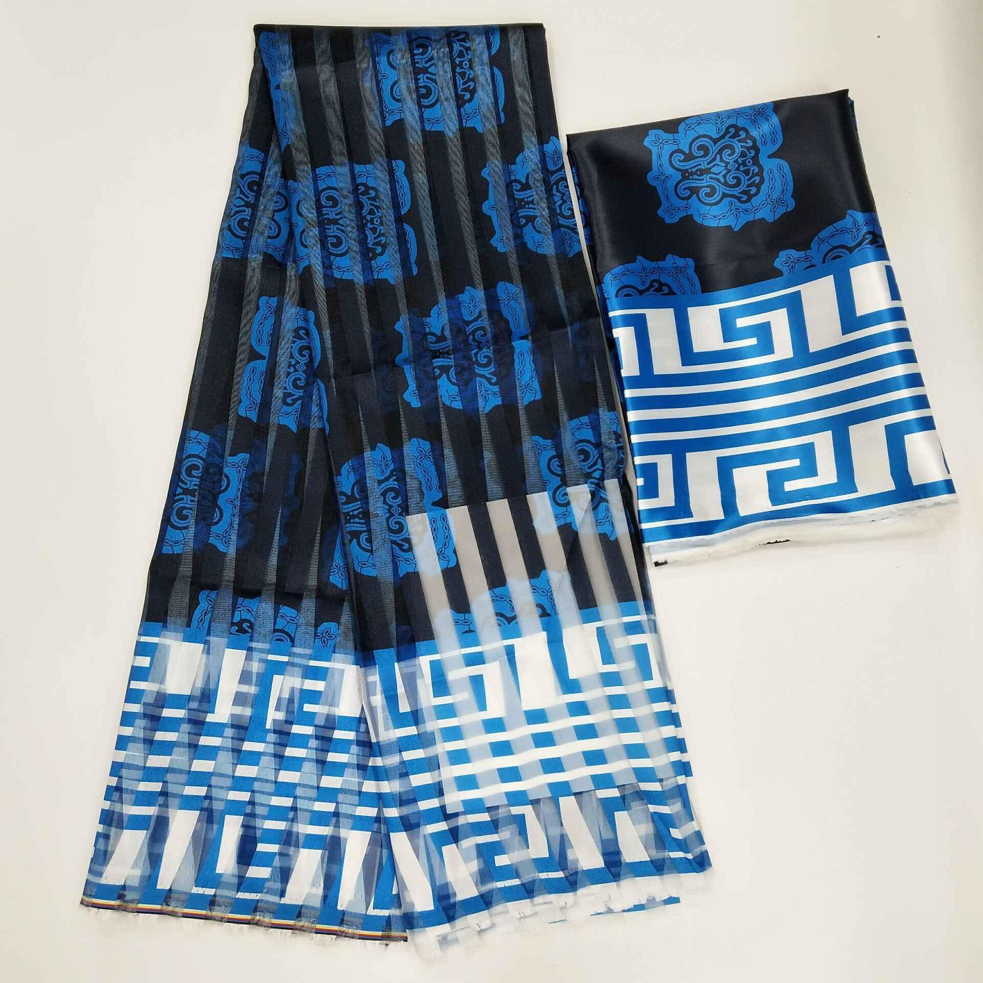 Vendita calda Ghana Stile raso di seta tessuto con del nastro del organza Africano della cera disegno! J71401