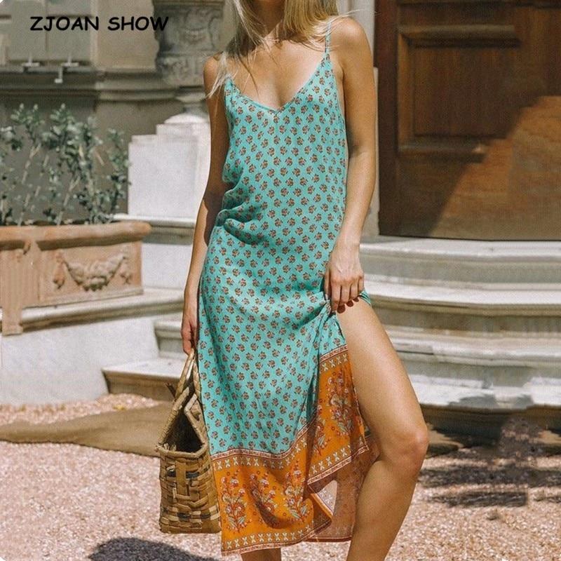 2020 Bohemian Strappy Long V Neck Floral Print BOHO Dress Summer Holiday Woman Side Slit Spaghetti Strap Dresses Sling Vestidos