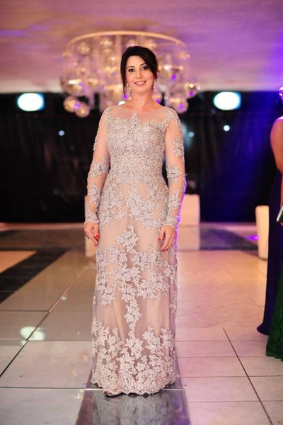 Plus Size Mother Of The Bride Dresses A-line Long Sleeves Tulle Appliques Lace Long Groom Mother Dresses For Weddings