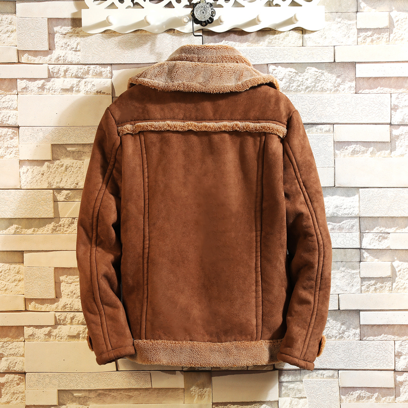 Fourrure une pièce veste hommes chaud mode contraste couleur décontracté fourrure col veste homme Streetwear sauvage lâche coton mâle vêtements - 2