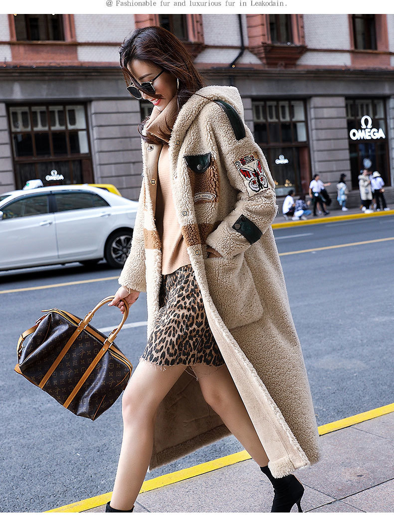 Fur Real Coat Female Sheep Shearling Wool Coats Winter Jacket Women Clothes 2020 Print Long Jackets Manteau Femme MY4266 S S