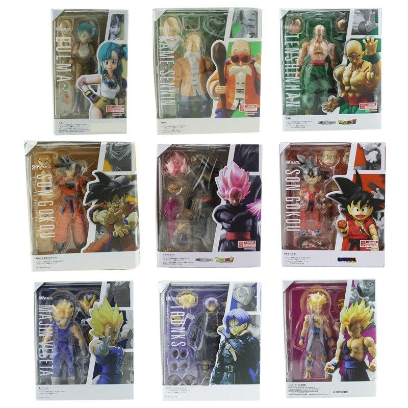 Dragon Ball Z Anime Son Gokou Black Bulma Kame-Sennin Majin Vegeta Trunks Gohan SHF Boxed PVC Action Figure Model Doll Toys Gift