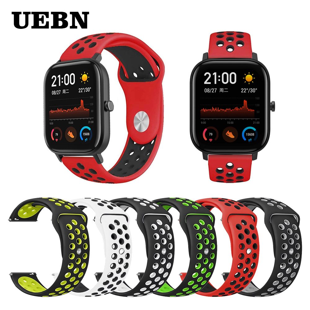UEBN <font><b>20mm</b></font> Silicone Replacement Breathable <font><b>Watch</b></font> Band For xiaomi Huami <font><b>strap</b></font> Amazfit <font><b>GTS</b></font>/GTR 42mm/Bip Sport watchbands image