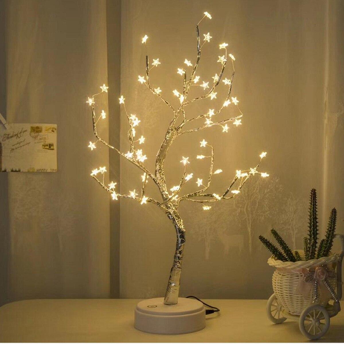LED blanco ALIWARM Original con lámpara de mesa de 60 estrellas blancas para decoración del hogar boda dormitorio Dropshipping 20
