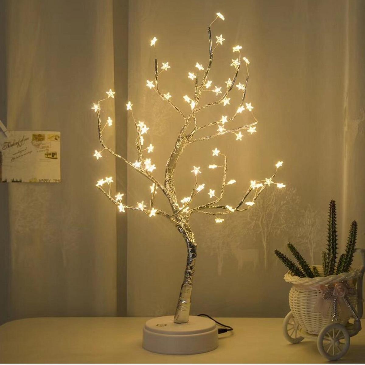 >Original ALIWARM White LED With 60 White Star <font><b>Table</b></font> <font><b>Lamp</b></font> For Home <font><b>Decoration</b></font> Wedding Bedroom Dropshipping 20
