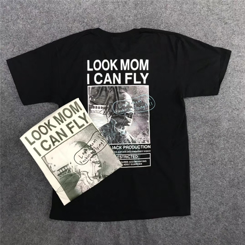 New Travis Scott Look Mom i Can Fly Custom T shirt Men Women T-shirts Top Tees ASTROWORLD T-shirt Cotton(China)