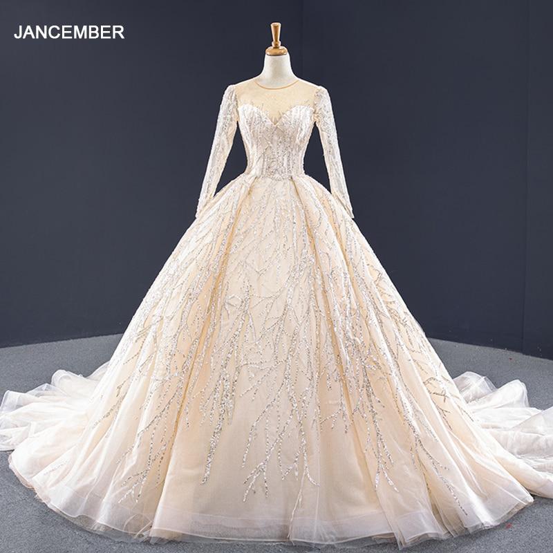 J67060 Jancember Formal Dress Women Elegant O Neck Full Sleeve Ball Gown Sequined Lace Long Dresses Evening Vestido Longo Festa