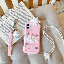 Phone-Case Lanyard Back-Cover Silicone Mini Cartoon 3D for 12 11-pro/Max-x-xs/Xr/.. Coque