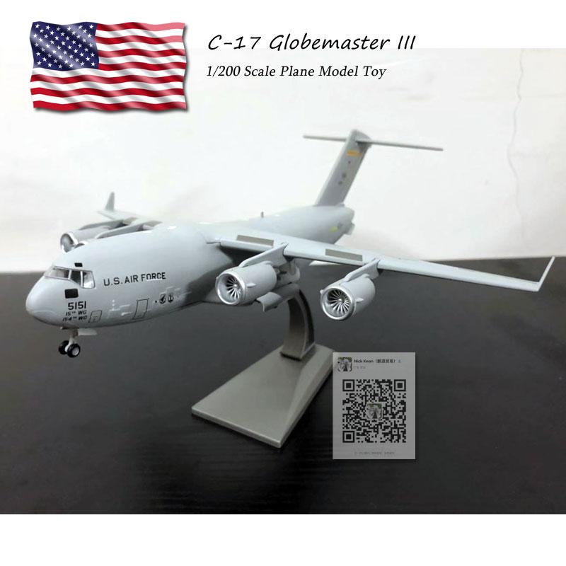 WLTK 1/200 échelle C-17 Globemaster III stratégique et tactique Airlifter moulé sous pression en métal militaire avion modèle jouet pour Collection