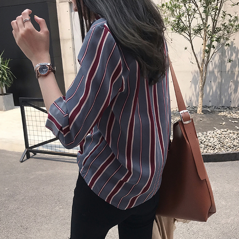 NEW  fashion striped blouse shirt 3XL plus size women tops long sleeve women shirts women blouse womens tops and blouses 1677 50 4