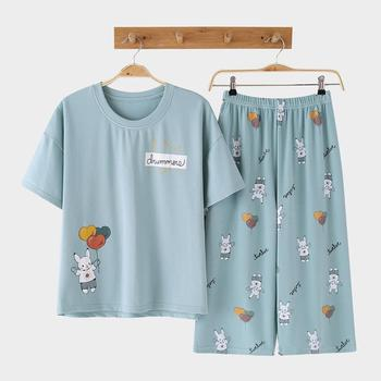 Seluxu Calf-Length Rabbit Balloon Pattern 2 Pieces Cotton Nightwear Women's Shorts Pajama Set Short Sleeve Sleepwear