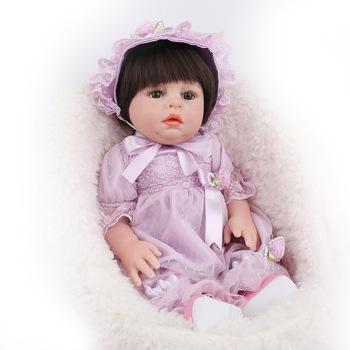 Limited collection dolls 48cm Reborn Baby Doll Lifelike Silicone Vinyl Baby Dolls boys girls Gifts Toy with Straight hair Purple