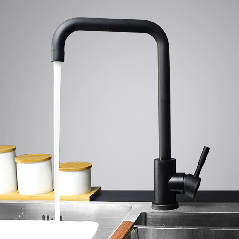 Black Paint Spray Stainless Steel Singe Handle Hot Cold Water 360 Degree Swivel Mixer Tap Basin Faucet For Kitchen Bathroom