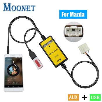 Moonet koło samochodowy sprzęt audio MP3 AUX USB Adapter 3 5mm AUX interfejs zmieniarka cd dla Mazda 3 5 6 323 CX7 MPV RX8 QX023 tanie i dobre opinie 5*10*15 Usb2 0 optimal 12 v Kable Adaptery i gniazda 160g USB Input Mazda Mazda 5 Mazda 6 Mazda 3 323 Miata MX5 MPV RX8