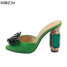 Italian Designer Green Rhinestone Sandals Women shoes luxury 2019 Slip On High Heel Summer Shoes Woman block heels