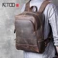 AETOO Retro kopf rindsleder männer schulter tasche leder handgemachte computer rucksack