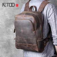 AETOO Retro head cowhide men's shoulder bag leather handmade computer backpack