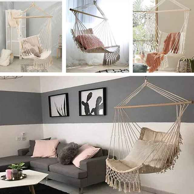Nordic Style Home Garden Hanging Hammock Tassel Hammock Chair Outdoor Indoor Dormitory Swing Hanging Chair with Wooden Rod 3