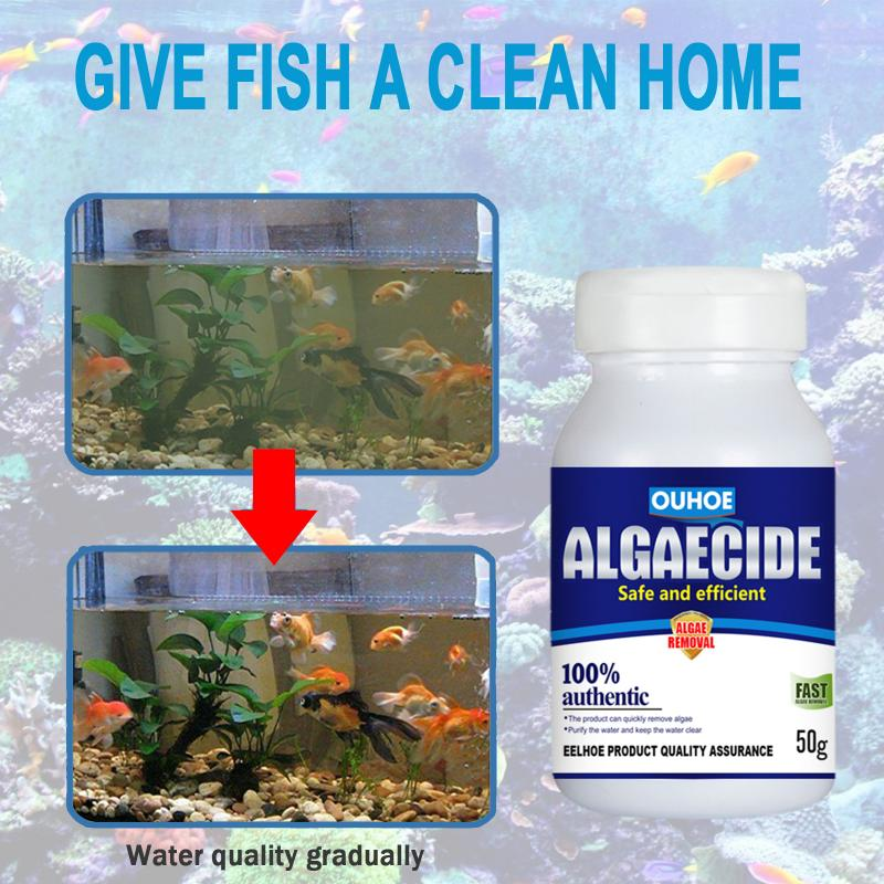 50g High Efficiency Algaecide Algae Moss Reduce Control Water Purification Safe Water Treatment Aquatic Supplies Water Purificat