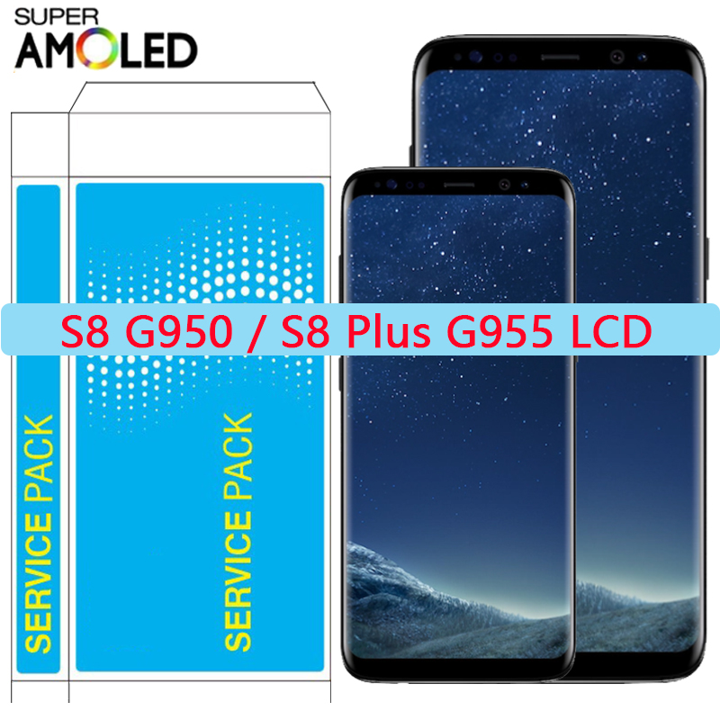 Original S8 Plus LCD For <font><b>Samsung</b></font> S8 LCD <font><b>Display</b></font> Screen With Frame For Galaxy S8 <font><b>G950</b></font> G950F <font><b>Display</b></font> S8 Plus G955 G955F LCD Repair image