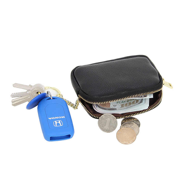 Dompet Koin untuk Wanita Pertama Lapisan Kulit Sapi Gantungan Kunci Dompet Tas Square Koin Dompet Penyimpanan Portabel Kulit Asli Mini Perubahan Dompet
