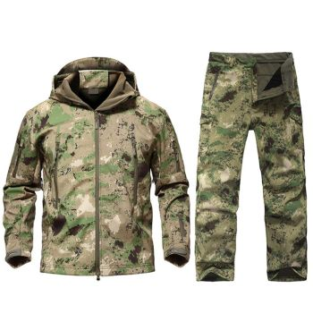 Outdoor Tactical Military Jacket Men Softshell Fleece Camouflage Waterproof + Pants Camping Hiking Hunting Sport Suit
