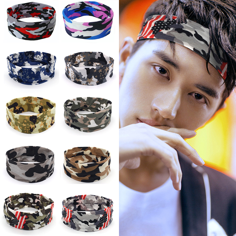 Camouflage Wide Headbands Elastic Yoga Sweatband Men Women Outdoor Gym Running Tennis Basketball Wide Hair Bands Sport Headband