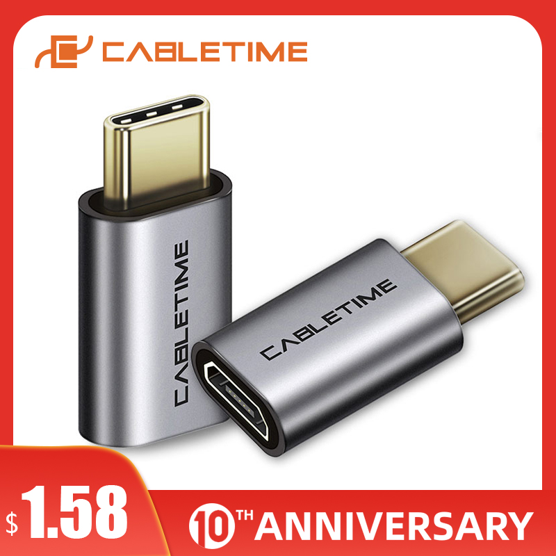 CABLETIME Micro B F To USB Type C Adapter Type C Converter Charging Data Sync Adapter For Huawei Mate 30/20/10 P30/20/10 C005