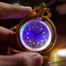 Świecące LED Flash naszyjnik godzina staromodny zegar unikalny brąz srebrny złoty pociąg lokomotywa silnik Noctilucent kieszonkowy zegarek kwarcowy tanie tanio Gorben QUARTZ Akrylowe ROUND ANALOG Jednokierunkowy Z tworzywa sztucznego Unisex Kieszonkowy zegarki kieszonkowe Antique