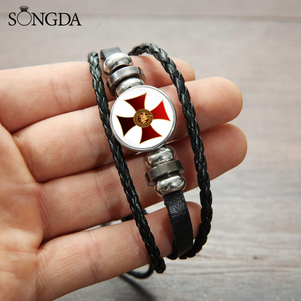 Hot Knights Templar Cross Bracelet Crusader Solomon Masonic Sign Glass Buckle Bracelet Medieval Signet Mens Wrist Jewelry