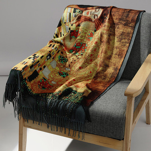 Image 2 - Pashmina de cachemir largo cálido de doble cara para mujer, pañuelos de pintura al óleo, chal, para invierno