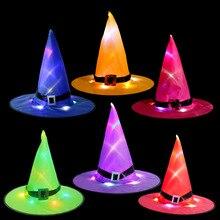 Sombreros de bruja para Halloween, accesorios de fiesta, LED brillante, adornos fiestas árbol exterior, adorno colgante