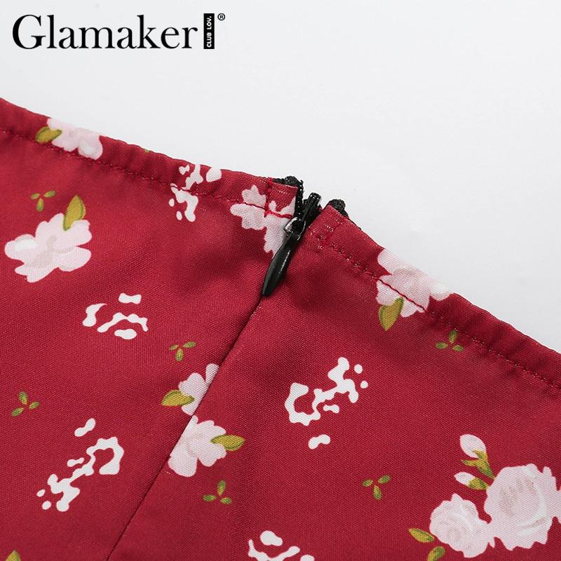 Glamaker Floral print sexy bodycon high split dress Women 2020 new sleeveless short dress Party club elegant backless vestidos 6
