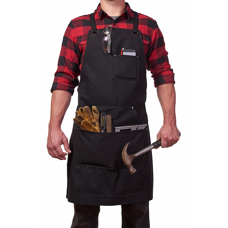 Woodworking Canvas Apron Waterproof Adjustable Unisex Waxed Pockets Apron Woodworking Painting Kitchen Gardening Accessories