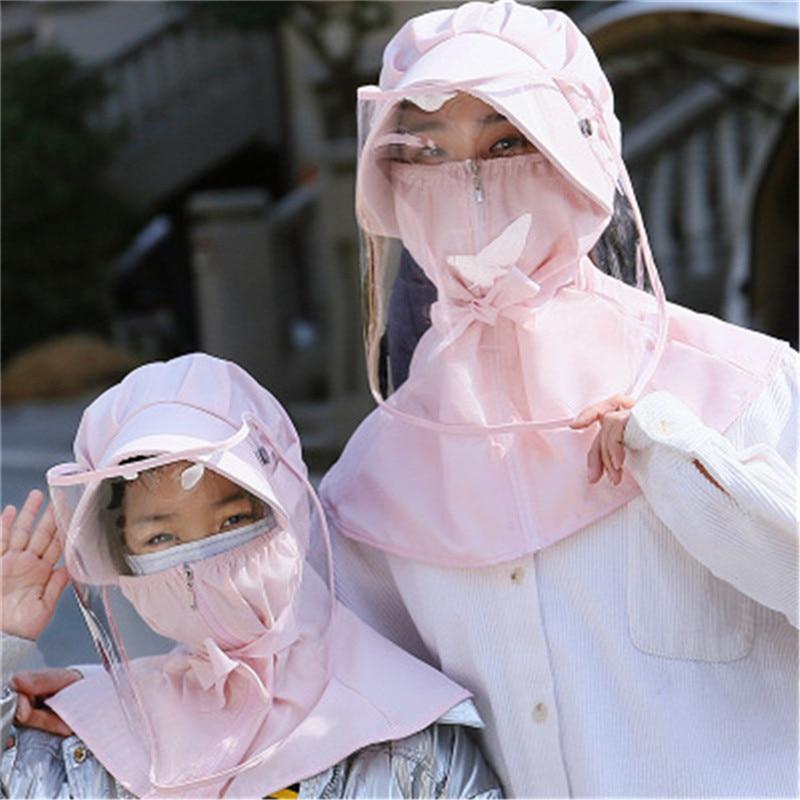 Anti-fog Virus Mask Adult Child Removable Protective Hat Transparent Mask Protective Face Shield PVC Anti-fog Saliva Protection