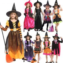 Halloween Witch Costume Children Kids Witch Girl Cosplay for Girls Purim Carnival Party Mardi Gras Costumes Fancy Dress цены онлайн