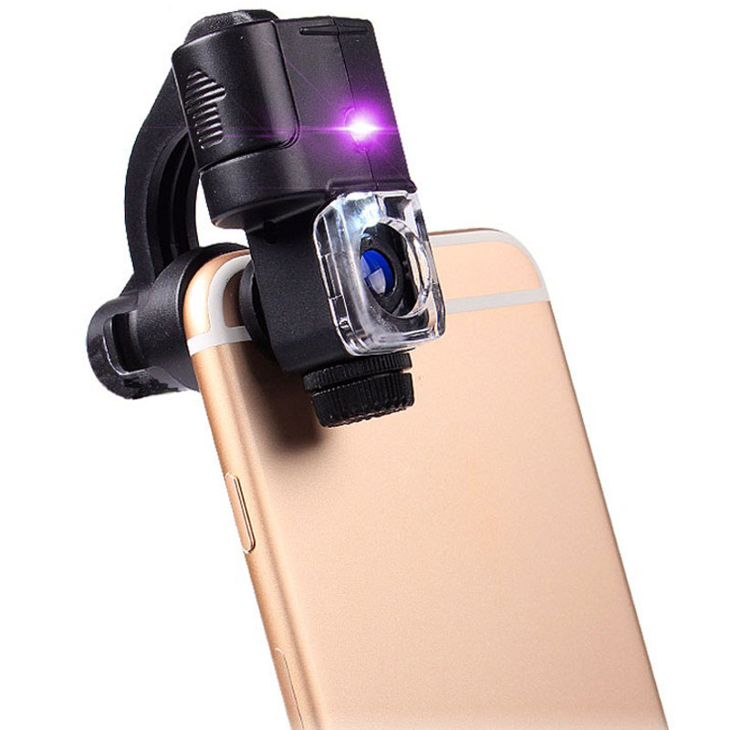 60X Clip Type Cellphone Microscope Magnifier Glass Lens with 3 LED Light Smart