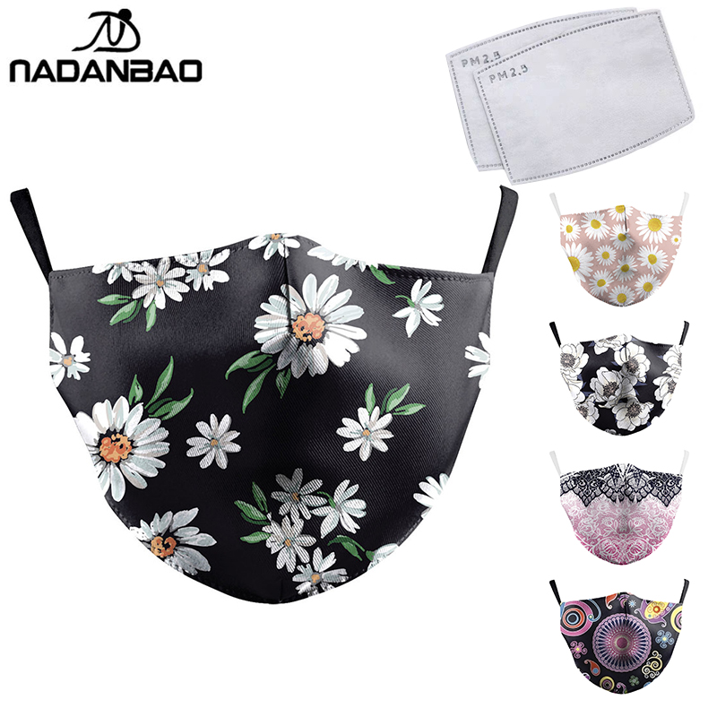 NADANBAO Flower Print Face Mask For Women Protective PM2.5 Dust Mouth Mask Washable Reusable Mouth Cover Fashion Fabric Masks